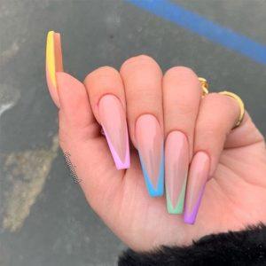 long pastel rainbow tips