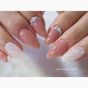 classy nude white glitter