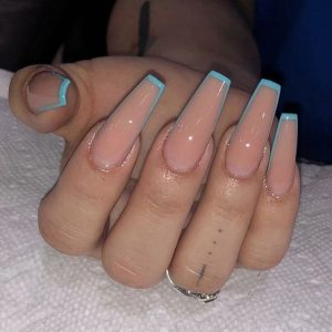 baby blue french long acrylic