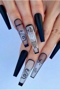 asian theme long acrylics