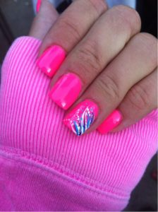 bright pink design nails