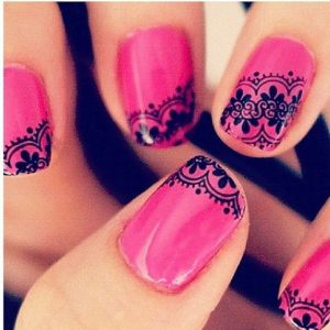 pink lace nails pattern