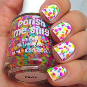 confetti bright glitter nail