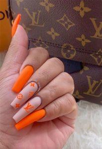 louis vuitton bright orange nails