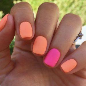 pink and orange short nails