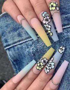 flower ombre pastel long