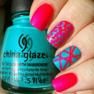turquoise pink design bright