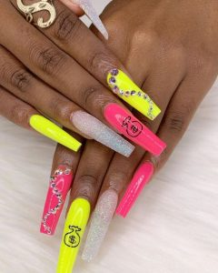 neon yellow and pink money