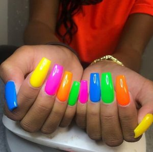 solid bright painted nails