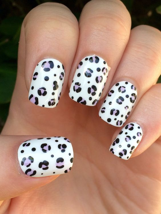 leopard printed white nail