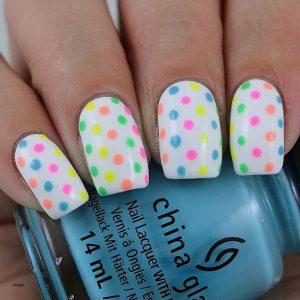 pastel polka dot on white